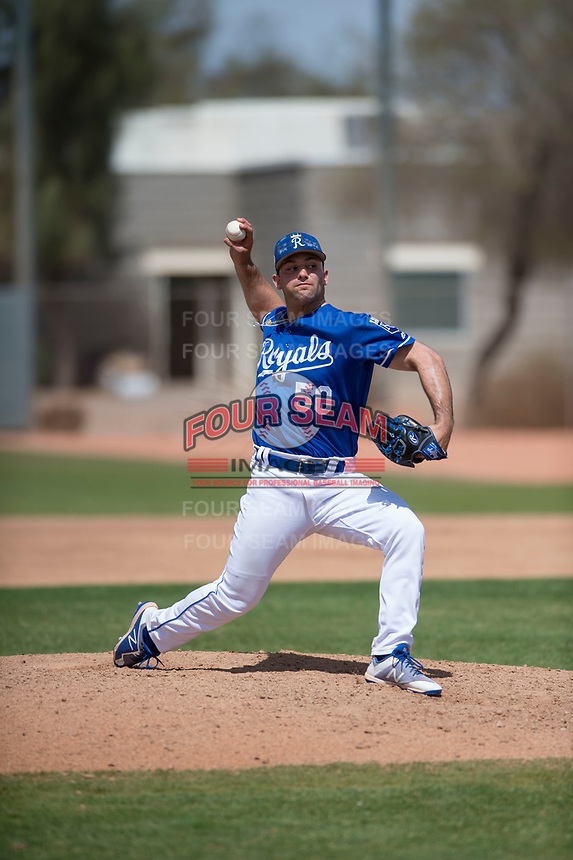 Kansas City Royals relief pitcher Sal Biasi (50) during a Minor League Spring Training game against the Milwaukee Brewers at Maryvale Baseball Park on March 25, 2018 in Phoenix, Arizona. (Zachary Lucy/Four Seam Images)