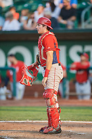 David Clawson (3) of the Orem Owlz on defense against the Ogden Raptors at Lindquist Field on August 3, 2018 in Ogden, Utah. The Raptors defeated the Owlz 9-4. (Stephen Smith/Four Seam Images)