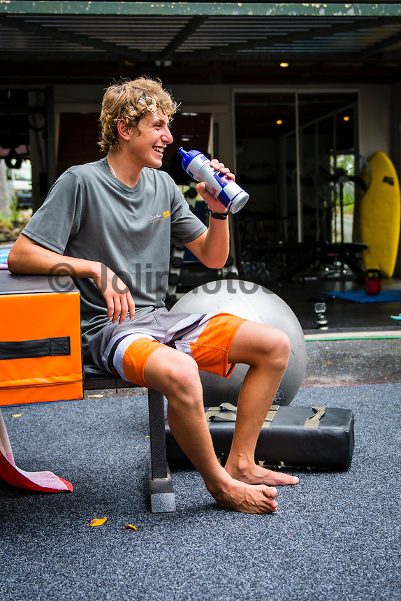 Leo Fioravanti cooling down after a training session at Coolangatta, Queensland, Australia on Tuesday February 18, 2014