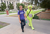 """Occidental College students show their """"spirit"""" by wearing costumes on Halloween, Oct. 31, 2014. (Photo by Marc Campos, Occidental College Photographer)"""