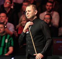 Barry Hawkins grimaces after missing an easy shot  during the Dafabet Masters FINAL between Barry Hawkins and Ronnie O'Sullivan at Alexandra Palace, London, England on 17 January 2016. Photo by Liam Smith / PRiME Media Images