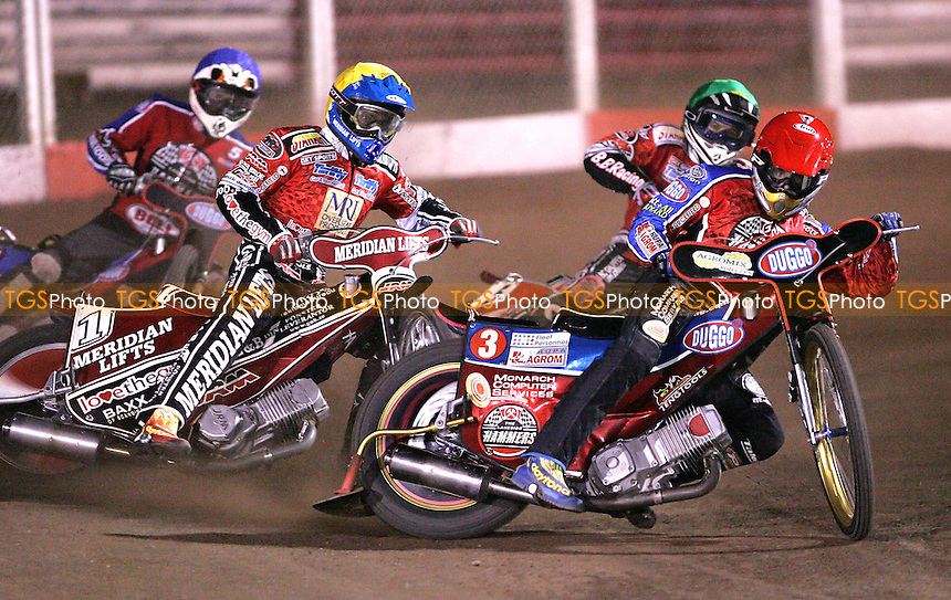 Heat 15 - Krzysztof Kasprzak (Red) of Lakeside), Hans Andersen (Yellow) Peterbrorough, Kenneth Bjerre (Green) Peterborough and Adam Shields (Blue) Lakeside. Andersen went on to win the race - Lakeside Hammers vs Peterborough Panthers at The Arena Essex Raceway, Thurrock - 20/04/07 - MANDATORY CREDIT: Rob Newell/TGSPHOTO