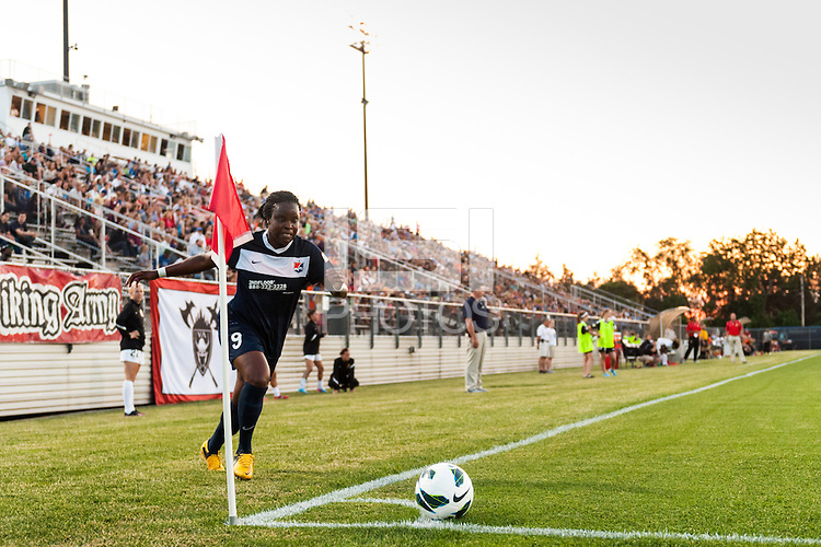 Sky Blue FC forward Danesha Adams (9) takes a corner kick. The Western New York Flash defeated Sky Blue FC 3-0 during a National Women's Soccer League (NWSL) match at Yurcak Field in Piscataway, NJ, on June 8, 2013.