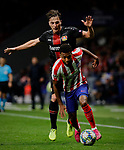 Thomas Lemar of Atletico de Madrid and Julian Baumgartlinger of Bayer 04 Leverkusen during the UEFA Europa League match between Atletico de Madrid and Bayer 04 Leverkusen at Wanda Metropolitano Stadium in Madrid, Spain. October 22, 2019. (ALTERPHOTOS/A. Perez Meca)