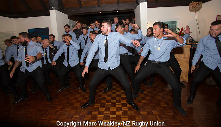 Maori All Blacks perform the Haka at the after-match, New Zealand High Commission. Suva. July 11, 2015. Photo: Marc Weakley