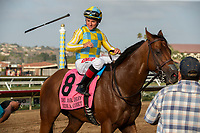 DEL MAR, CA  SEPTEMBER 2:  #8 Ride a Comet, ridden by Drayden Van Dyke tosses his whip to his valet after winning the  Del Mar Derby (Grade ll) on September 2, 2018 at Del Mar Thoroughbred Club in Del Mar, CA.(Photo by Casey Phillips/Eclipse Sportswire/Getty ImagesGetty Images