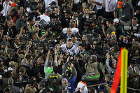 SANTA CLARA, CA - FEBRUARY 7:  Peyton Manning of the Denver Broncos is surrounded by media after beating the Carolina Panthers 24-10 in Super Bowl 50 at Levi's Stadium on February 7, 2016 in Santa Clara, California. (Photo by Brad Mangin)
