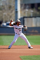 UCF Knights second baseman Matthew Mika (14) throws to first base during a game against the Siena Saints on February 17, 2019 at John Euliano Park in Orlando, Florida.  UCF defeated Siena 7-1.  (Mike Janes/Four Seam Images)
