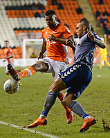 Blackpool's Curtis Tilt competes with Charlton Athletic's Josh Magennis<br /> <br /> Photographer Richard Martin-Roberts/CameraSport<br /> <br /> The EFL Sky Bet League One - Blackpool v Charlton Athletic - Tuesday 13th March 2018 - Bloomfield Road - Blackpool<br /> <br /> World Copyright &not;&copy; 2018 CameraSport. All rights reserved. 43 Linden Ave. Countesthorpe. Leicester. England. LE8 5PG - Tel: +44 (0) 116 277 4147 - admin@camerasport.com - www.camerasport.com