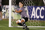 07 November 2008: Virginia Tech goalkeeper Kristin Carden makes the clinching save, her fourth of the penalty kick shootout. The University of Virginia and Virginia Tech played to a 1-1 tie after 2 overtimes at WakeMed Stadium at WakeMed Soccer Park in Cary, NC in a women's ACC tournament semifinal game.  Virginia Tech advanced to the final on penalty kicks, 2-1.