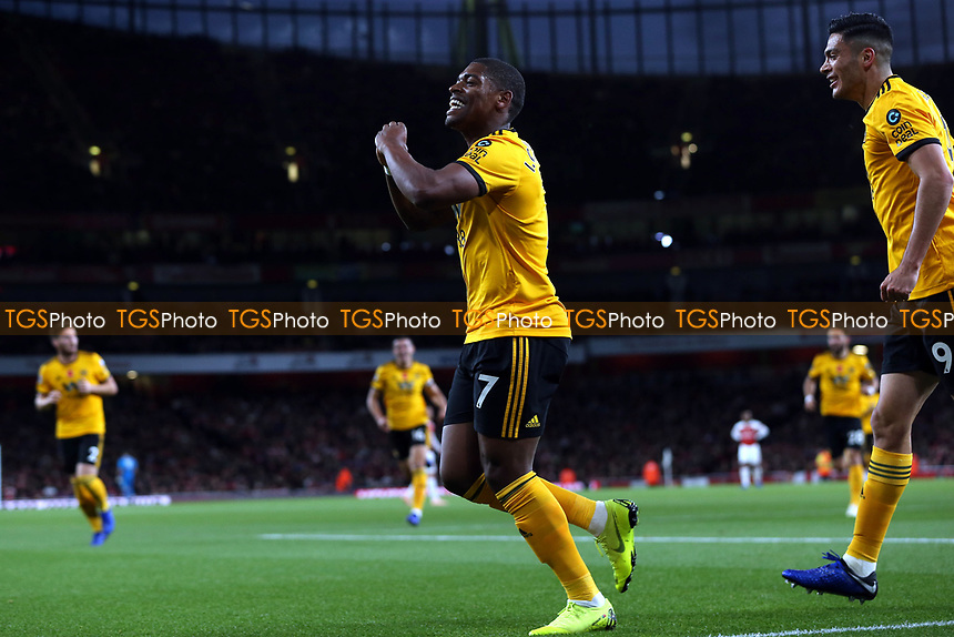 Ivan Cavaleiro of Wolves celebrates scoring the first goal during Arsenal vs Wolverhampton Wanderers, Premier League Football at the Emirates Stadium on 11th November 2018