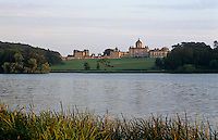 A view of Castle Howard from across the South Lake, an artificial lake constructed in the 1720s
