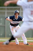 UW-Stout Blue Devils Jake Lunow (1) during the first game of a doubleheader against the Edgewood Eagles on March 16, 2015 at Lee County Player Development Complex in Fort Myers, Florida.  UW-Stout defeated Edgewood 6-1.  (Mike Janes/Four Seam Images)