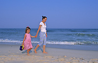Mother and child walking along the beach, Stone Harbor, New Jersey