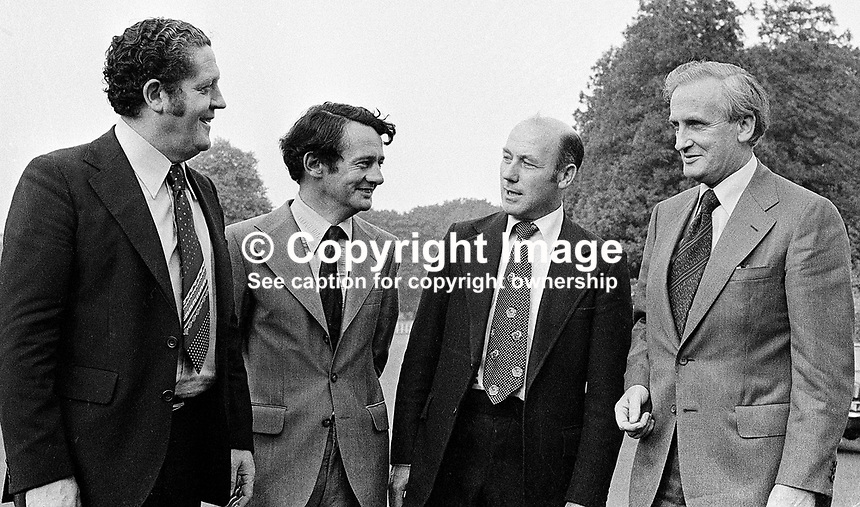 New ministers at Aras an Uachtarain in the grounds of Phoenix Park, Dublin, Rep of Ireland - l to r - Brian Lenihan, Des O'Malley, Dr Martin O'Donoghue, and Tony Hedderman, attorney general. 195/77, 197707000195.<br />