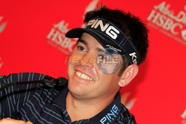 Louis Oosthuizen in the interview room during Practice Day 2 of the Abu Dhabi HSBC Golf Championship, 19th January 2011..(Picture Eoin Clarke/www.golffile.ie)