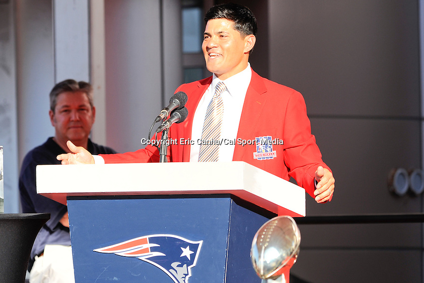 July 29, 2013 - Foxborough, Massachusetts, U.S. - Former Patriots linebacker Tedy Bruschi addresses fans during his induction into the New England Patriots Hall of Fame at Patriot Place in Foxborough Massachusetts.   Eric Canha/CSM