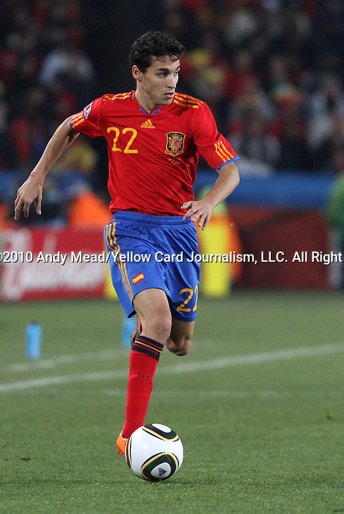 21 JUN 2010: Jesus Navas (ESP). The Spain National Team defeated the Honduras National Team 2-0 at Ellis Park Stadium in Johannesburg, South Africa in a 2010 FIFA World Cup Group H match.