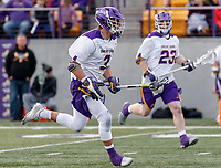 UAlbany Men's Lacrosse defeats Stony Brook on March 31 at Casey Stadium.  TD Ierlan (#3) carries the ball forward into the attack after winning a faceoff.