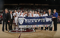STANFORD, CA - February 23, 2012:  The Pac-12 Champions after Stanford's 68-46 victory over Colorado in Stanford, California on February 23,  2012.