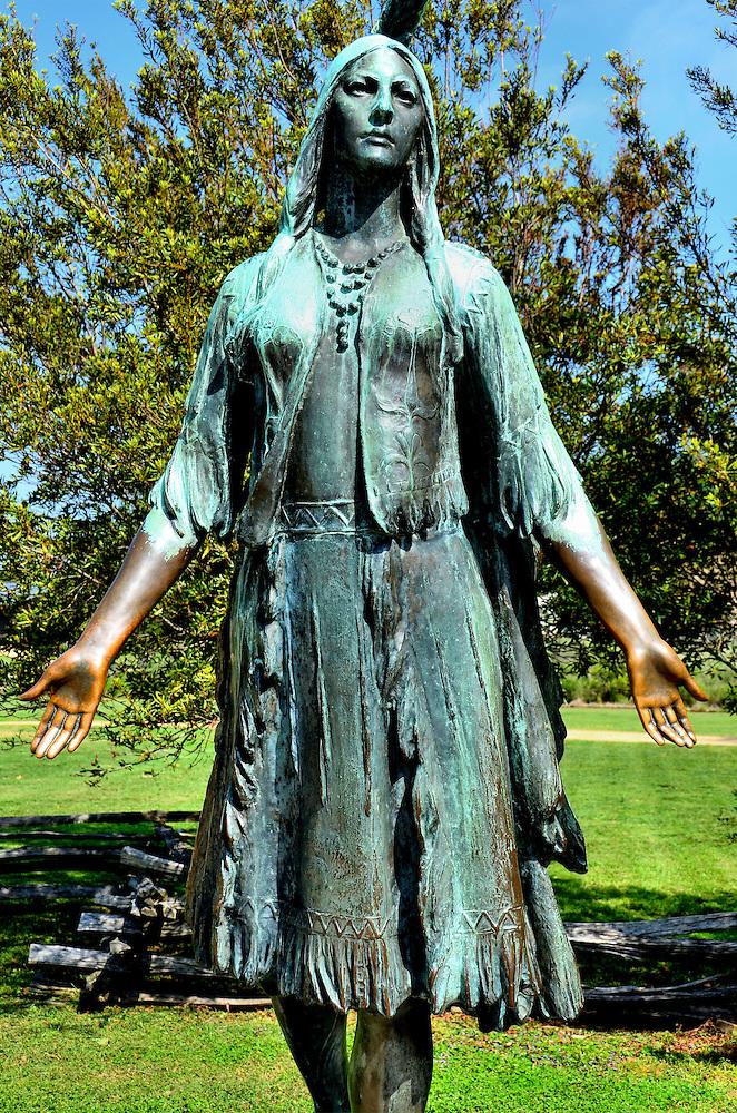 Pocahontas Statue At Historic Jamestowne Virginia