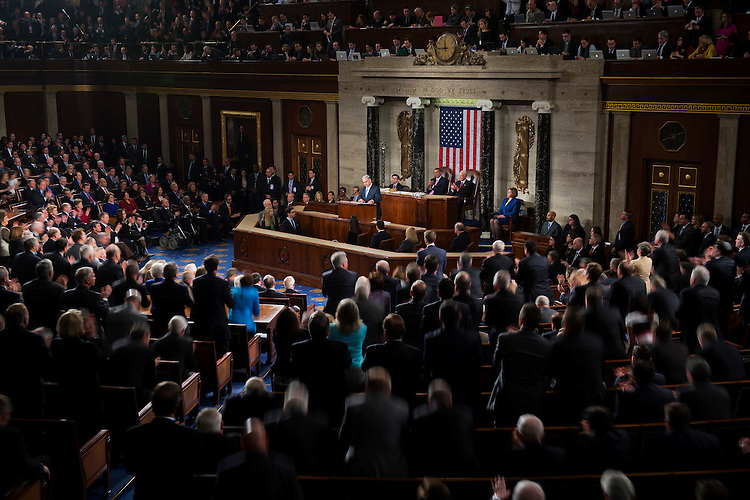 UNITED STATES - MARCH 03: Israeli Prime Minister Benjamin Netanyahu addresses a joint meeting of Congress in the House chamber, March 3, 2015. (Photo By Tom Williams/CQ Roll Call)