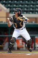Lakeland Flying Tigers catcher Grayson Greiner (3) throws down to second in between innings during a game against the Palm Beach Cardinals on April 16, 2015 at Joker Marchant Stadium in Lakeland, Florida.  Palm Beach defeated Lakeland 6-0.  (Mike Janes/Four Seam Images)