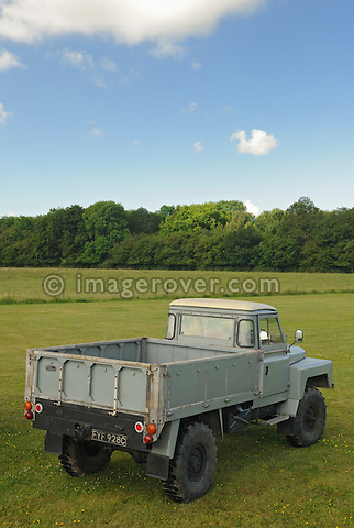 1962 grey 129in prototype on 11.00 x 16 tyres. Dunsfold Collection of Land Rovers Open Day 2009. Dunsfold, Surrey, UK. --- No releases available. Automotive trademarks are the property of the trademark holder, authorization may be needed for some uses.