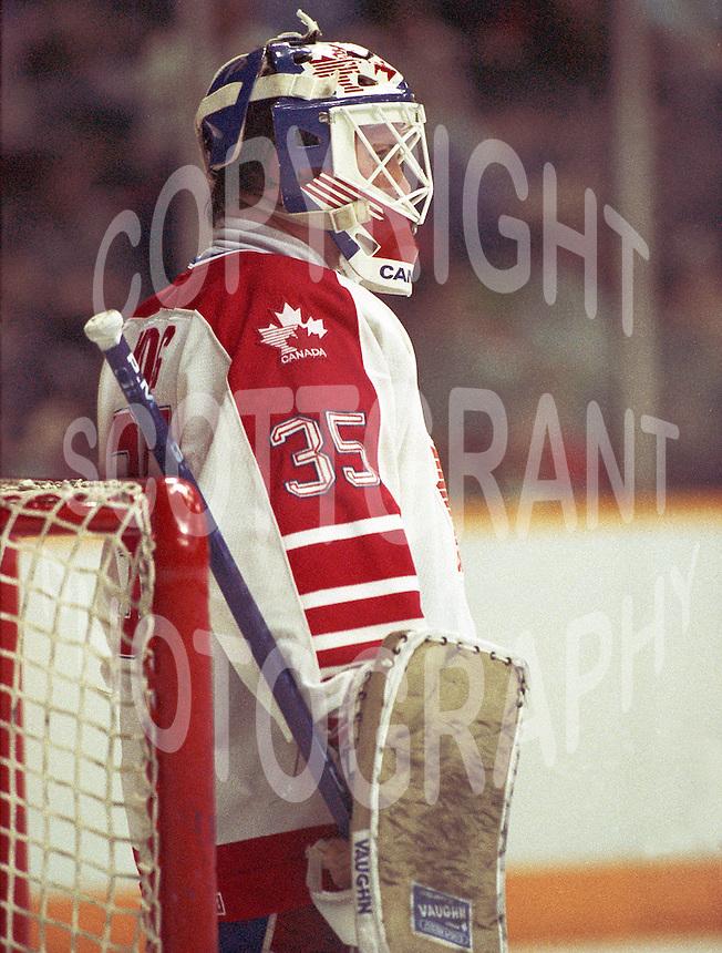 Andy Moog Team Canada 1987. Photo copyright F. Scott Grant
