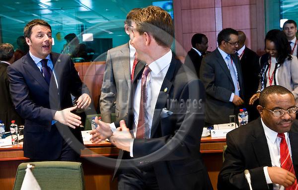 BRUSSELS - BELGIUM - 02 April 2014 -- EU - Africa Summit. -- (f. left) Matteo Renzi, Prime Minister of Italy greeting Jyrki KATAINEN, Prime Minister of Finland.  (ri) Hailemariam Desalegn Prime Minister of Ethiopia. -- PHOTO: Juha ROININEN / EUP-IMAGES