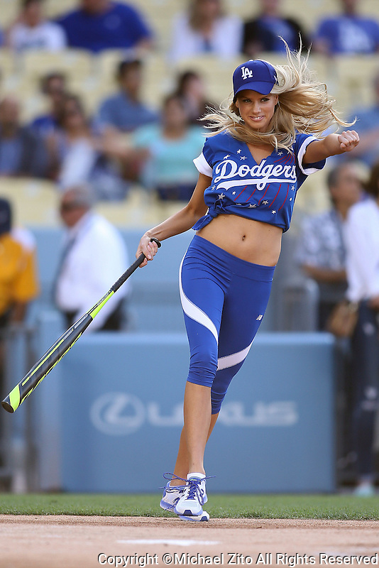 June 6, 2015 Los Angeles, CA: Charlotte McKinney participates in the Hollywood Stars softball game at Dodger Stadium before the MLB game between the Los Angeles Dodgers and the St Louis Cardinals.