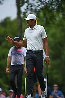 Tony Finau (USA) after sinking his birdie putt on 2 during round 3 of the 2019 Charles Schwab Challenge, Colonial Country Club, Ft. Worth, Texas,  USA. 5/25/2019.<br /> Picture: Golffile | Ken Murray<br /> <br /> All photo usage must carry mandatory copyright credit (© Golffile | Ken Murray)