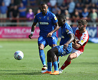 Fleetwood Town's Ched Evans and Wimbledon's Adedeji Oshilaja<br /> <br /> Photographer Stephen White/CameraSport<br /> <br /> The EFL Sky Bet League One - Fleetwood Town v AFC Wimbledon - Saturday 4th August 2018 - Highbury Stadium - Fleetwood<br /> <br /> World Copyright &copy; 2018 CameraSport. All rights reserved. 43 Linden Ave. Countesthorpe. Leicester. England. LE8 5PG - Tel: +44 (0) 116 277 4147 - admin@camerasport.com - www.camerasport.com