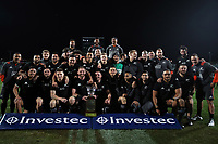 The All Blacks pose for a photo with the Freedom Cup after winning the Rugby Championship match between the New Zealand All Blacks and South Africa Springboks at QBE Stadium in Albany, Auckland, New Zealand on Saturday, 16 September 2017. Photo: Shane Wenzlick / lintottphoto.co.nz