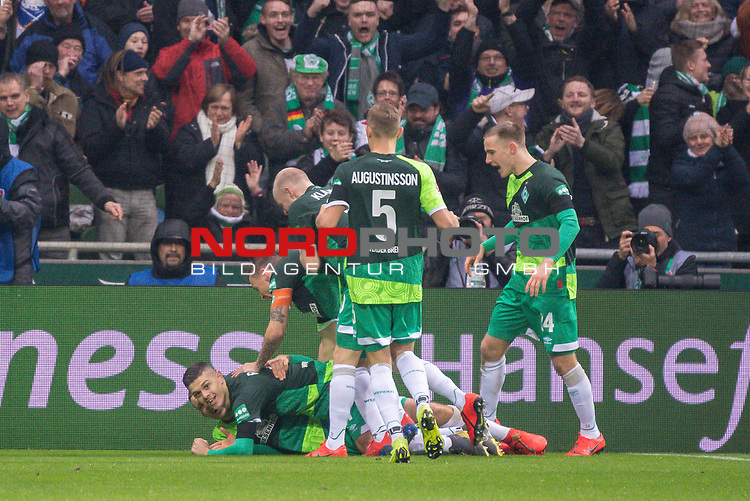 10.02.2019, Weser Stadion, Bremen, GER, 1.FBL, Werder Bremen vs FC Augsburg, <br /> <br /> DFL REGULATIONS PROHIBIT ANY USE OF PHOTOGRAPHS AS IMAGE SEQUENCES AND/OR QUASI-VIDEO.<br /> <br />  im Bild<br /> <br /> 1:0 Milot Rashica (Werder Bremen #11) <br /> Max Kruse (Werder Bremen #10)<br /> Ludwig Augustinsson (Werder Bremen #05)<br /> Davy Klaassen (Werder Bremen #30)<br /> <br /> <br /> <br /> jubel <br /> Foto &copy; nordphoto / Kokenge