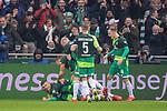 10.02.2019, Weser Stadion, Bremen, GER, 1.FBL, Werder Bremen vs FC Augsburg, <br /> <br /> DFL REGULATIONS PROHIBIT ANY USE OF PHOTOGRAPHS AS IMAGE SEQUENCES AND/OR QUASI-VIDEO.<br /> <br />  im Bild<br /> <br /> 1:0 Milot Rashica (Werder Bremen #11) <br /> Max Kruse (Werder Bremen #10)<br /> Ludwig Augustinsson (Werder Bremen #05)<br /> Davy Klaassen (Werder Bremen #30)<br /> <br /> <br /> <br /> jubel <br /> Foto &copy; nordphoto / Kokenge
