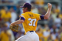 LSU Tigers pitcher Ryan Eades #37 delivers during the NCAA Super Regional baseball game against Stony Brook on June 10, 2012 at Alex Box Stadium in Baton Rouge, Louisiana. Stony Brook defeated LSU 7-2 to advance to the College World Series. (Andrew Woolley/Four Seam Images)