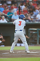 Nate Mondou (3) of the Stockton Ports at bat against the Inland Empire 66ers at San Manuel Stadium on July 6, 2017 in San Bernardino, California. The Ports defeated the 66ers 7-6.  (Brian Westerholt/Four Seam Images)