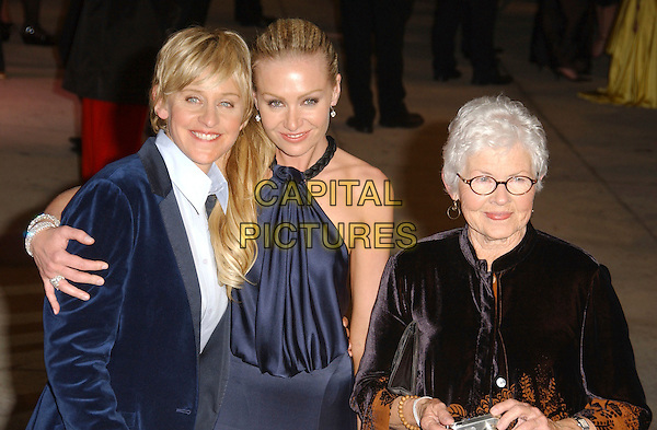 ELLEN DEGENERES, PORTIA DI ROSSI & her mother.The 2007 Vanity Fair Oscar Party Hosted by Graydon Carter held at Morton's, West Hollywood, California, USA, 25 February 2007..oscars half length  couple blue jacket navy dress mom mum family.CAP/ADM/GB.©Gary Boas/AdMedia/Capital Pictures.