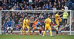 14.09.2019 Rangers v Livingston: Chris Erskine heads against Allan McGregor's crossbar and back out