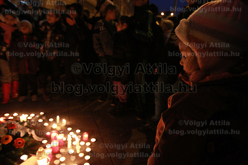 People commemorate victims of the roma killings in Tatarszentgyorgy in 2009 during an event in Budapest, Hungary on February 23, 2012. ATTILA VOLGYI