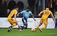 Blackpool's Bright Osayi-Samuel under pressure from Newport County's Jazzi Barnum-Bobb and David Pipe<br /> <br /> Photographer Kevin Barnes/CameraSport<br /> <br /> The EFL Sky Bet League Two - Saturday 18th March 2017 - Newport County v Blackpool - Rodney Parade - Newport<br /> <br /> World Copyright &copy; 2017 CameraSport. All rights reserved. 43 Linden Ave. Countesthorpe. Leicester. England. LE8 5PG - Tel: +44 (0) 116 277 4147 - admin@camerasport.com - www.camerasport.com