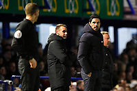 Arsenal ManagerMikel Arteta right has a word with a linesman during Portsmouth vs Arsenal, Emirates FA Cup Football at Fratton Park on 2nd March 2020