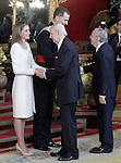 King Felipe VI of Spain and Queen Letizia of Spain attend a reception at the Royal Palace after the King's official coronation at the parliamen. June 19 ,2014. (ALTERPHOTOS/Pool)