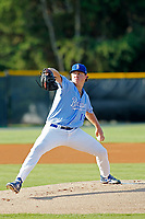 Burlington Roysls pitcher Austin Cox (16) on the mound during a game against the Kingsport Mets at Burlington Athletic Complex on July 28, 2018 in Burlington, North Carolina. Burlington defeated Kingsport 4-3. (Robert Gurganus/Four Seam Images)