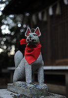 """Komainu"" , guardian dogs at a shinto shrine in a residential area in Tokyo, Japan."
