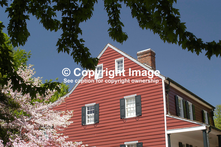 Springtime in the Historic Town - traditional timbered house. Old Salem, North Carolina, USA - Although the Moravians had a presence in North Carolina from the 1750s the first buildings in Old Salem were commenced in 1766. The Moravians were religeous refugees from Bohemia in Europe. Bohemia is now part of the present Czech Republic. Since 1950 the town has been preserved to retain its character and old buildings were restored. Ref: 200304230053....Copyright Image from Victor Patterson, 54 Dorchester Park, Belfast, UK, BT9 6RJ..Tel: +44 28 9066 1296.Mob: +44 7802 353836.Voicemail +44 20 8816 7153.Skype: victorpattersonbelfast.Email: victorpatterson@mac.com.Email: victorpatterson@ireland.com (back-up)..IMPORTANT: If you wish to use this image or any other of my images please go to www.victorpatterson.com and click on the Terms & Conditions. Then contact me by email or phone with the reference number(s) of the image(s) concerned.
