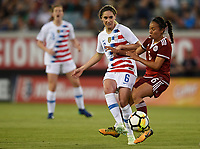 Jacksonville, FL - Thursday April 5, 2018: Morgan Brian, Karla Nieto during an International friendly match versus the women's National teams of the United States (USA) and Mexico (MEX) at EverBank Field.