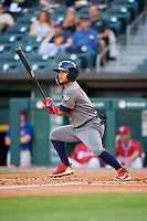Lehigh Valley IronPigs center fielder Alexi Amarista (2) follows through on a swing during a game against the Buffalo Bisons on June 23, 2018 at Coca-Cola Field in Buffalo, New York.  Lehigh Valley defeated Buffalo 4-1.  (Mike Janes/Four Seam Images)