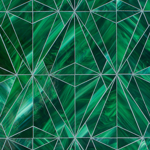 Origami, a waterjet  jewel glass mosaic, shown in Cat's Eye.